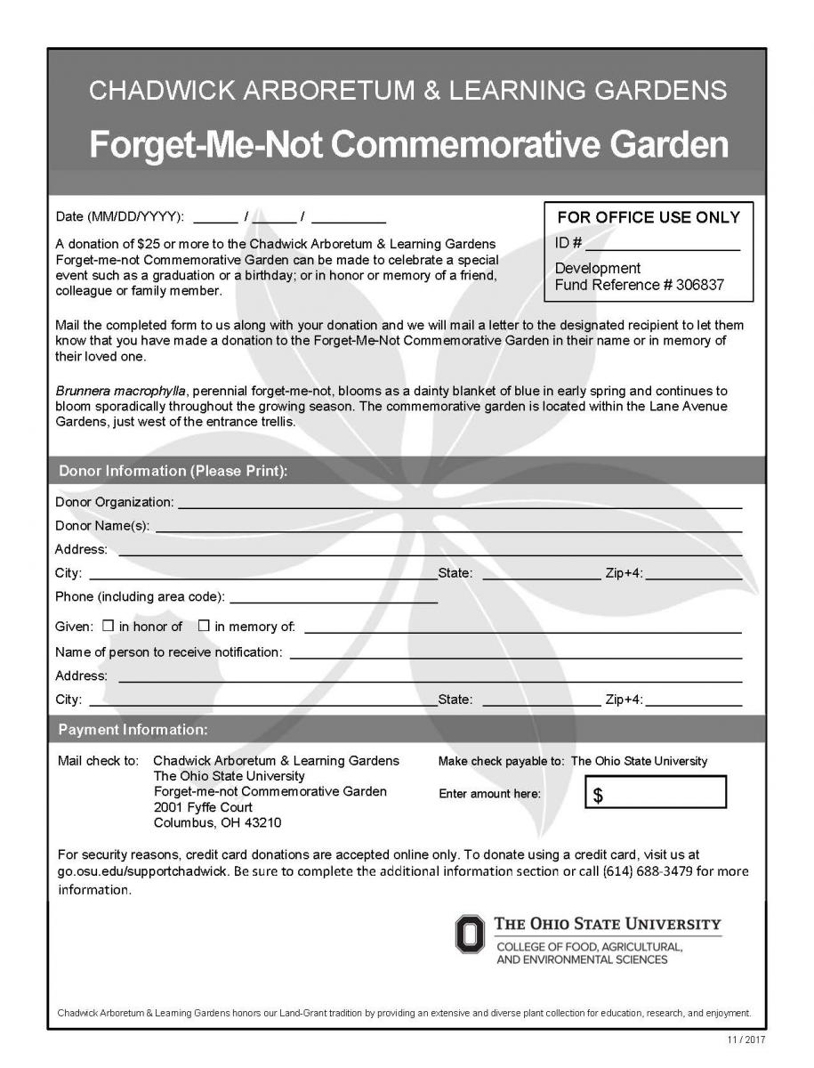 Forget-Me-Not Donation Form
